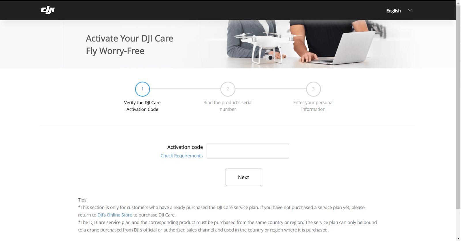 Kích hotaj DJI Care của bạn
