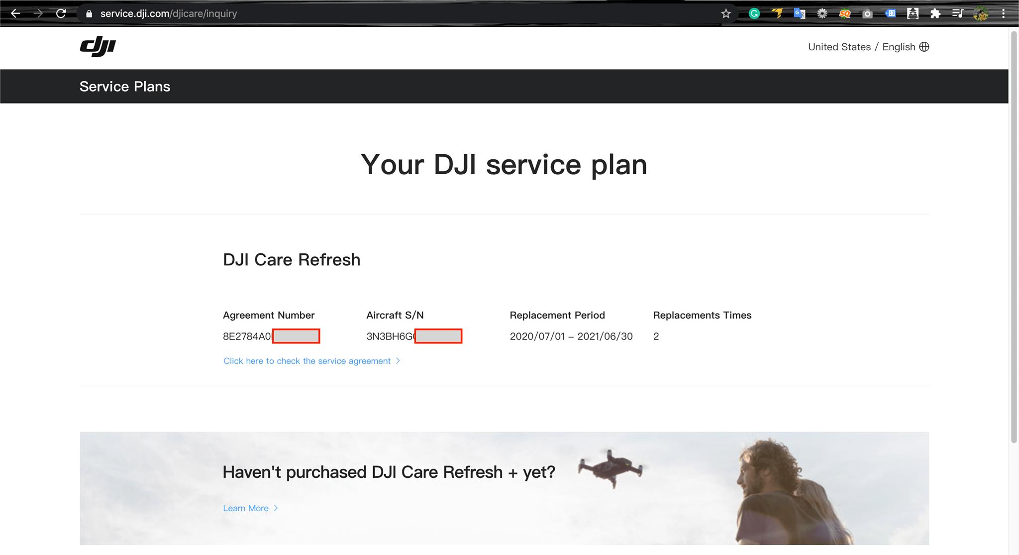 Truy cập website để kiểm tra gói bảo hành